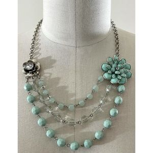 ❤️ Vintage tri-layer floral statement necklace